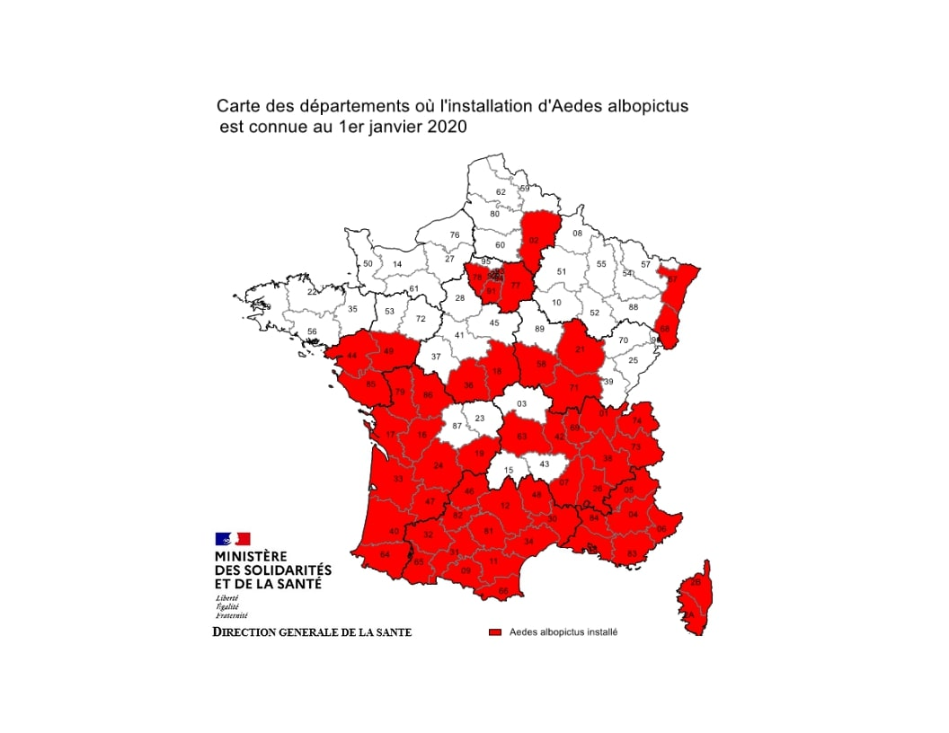 Carte de répartition d'Anopheles Insecte en France