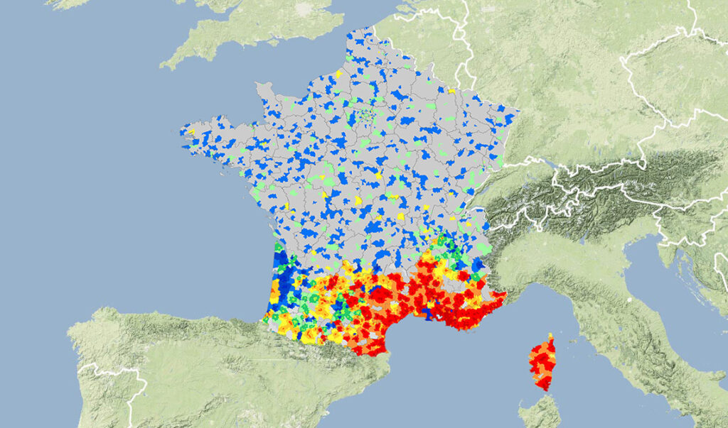 Carte sur la répartition du Leishmaniose en France