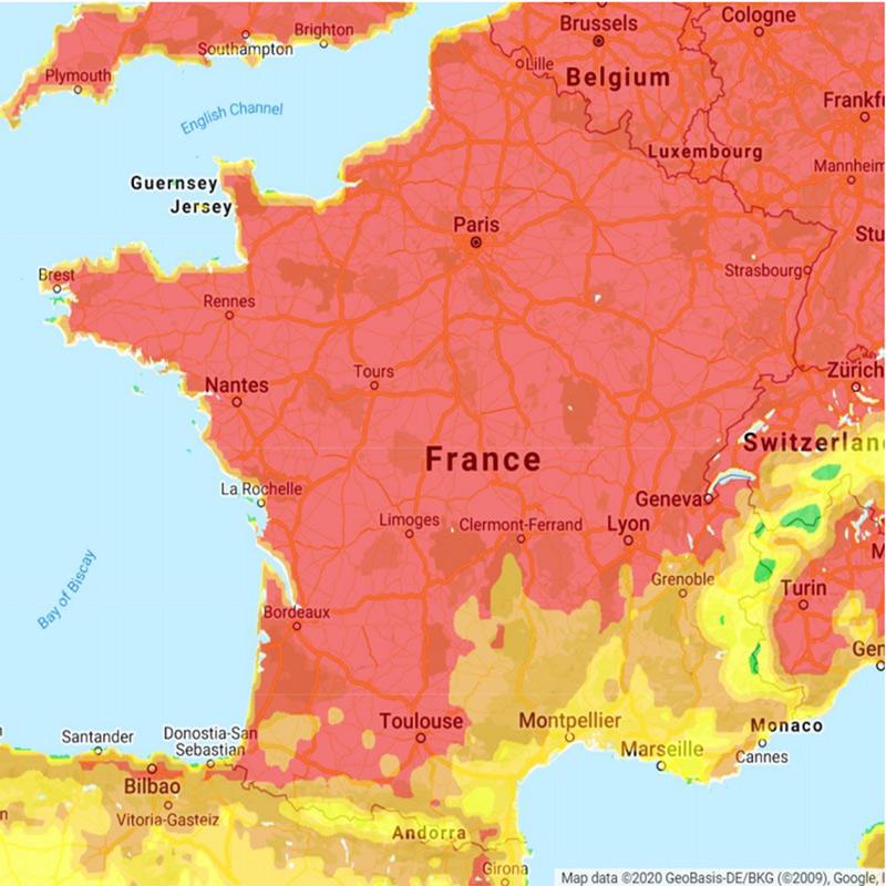 Carte sur la répartition des tiques